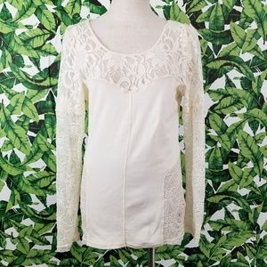 Free People Sweet Thang Lace Top Cream